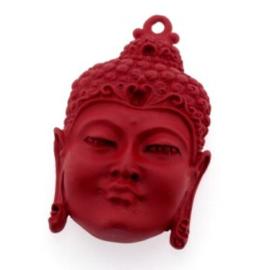 Decoratieve hanger buddha open ogen Rood 50 x 30mm p/2
