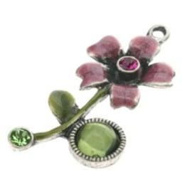 hanger bloem met epoxy olivine/peridot/fuchsia 34 x 18mm p/4