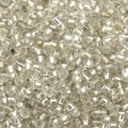 rocailles 12/0 crystal/zilver  p/500 gram