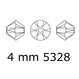 5328 biconische kraal 4 mm crystal (001) p/50