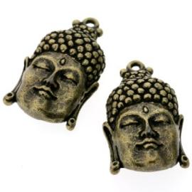 Decoratieve hanger buddha klein gesloten ogen MAG 33 x 20mm p/3