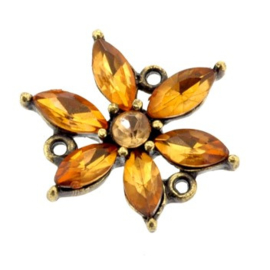 ornament bloem strass met 3 ogen MAG 20 x 20 mm p/4