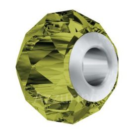 5940 BeCharmed Briolette Bead 14 mm Olivine (228) Steel p/st