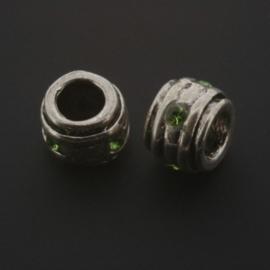 kraal metaal AS grootgaats strass peridot 7x9mm p/12