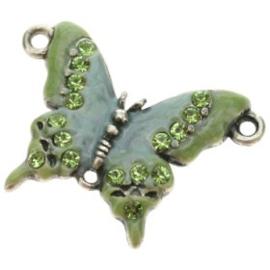 bedel vlinder klein crystal/epoxy groen 30x22mm p/4