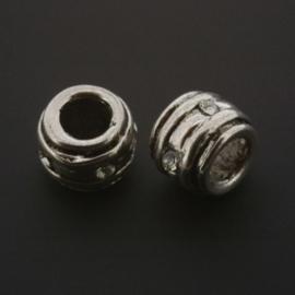 kraal metaal AS grootgaats strass crystal 7x9mm p/12