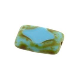 Aztec glaskraal fantasie 16 x 10 mm turquoise olivine  p/12