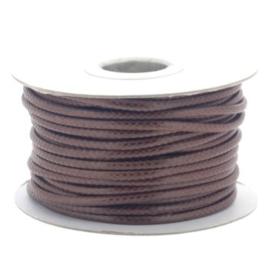 Soft waxkoord / slangenkoord 4mm p/20 meter bruin