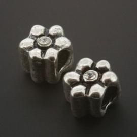 kraal metaal AS grootgaats strass crystal 9x8mm p/12