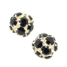 strass ball 10mm SPL/zwart p/6