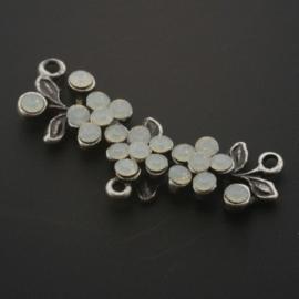 tussenzetsel 3 bloemen 38x12mm strass white opal p/2