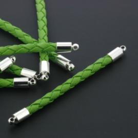 tussenzetsel kunstleer gevlochten 50mm groen p/12