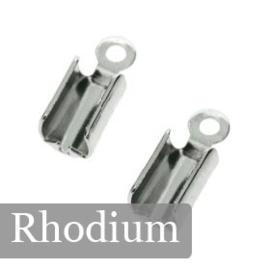 HYJ040 leerklem voor 2/3 veters Rhodium 7x5mm p/25
