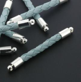 tussenzetsel kunstleer gevlochten 35mm turquoise p/12