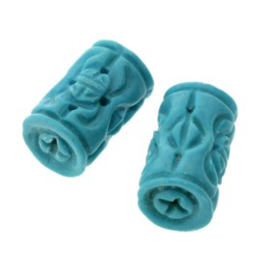 kraal steen cylinder turquoise 18 x 10 mm p/6
