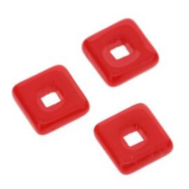 glaskraal vierkant 12 x 12mm rood p/25