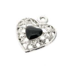 Hanger hart met zwarte epoxy 20x17 mm p/10