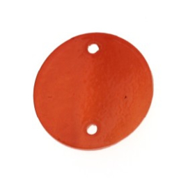 tussenzetsel schelp rond 2 gaatjes 18 mm rood  p/10