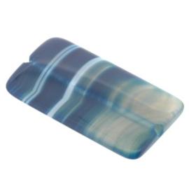 kraal agaat blauw rechthoek 50 x 25 mm  p/stuk
