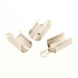 HYJ041 leerklem voor 5mm dikke veter Rhodium 13 x 6 mm p/25