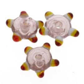 glaskraal plat met spikkels 12x5 mm light amethyst p/25