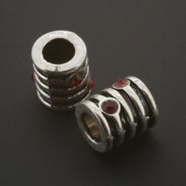 kraal metaal AS grootgaats strass siam 9x8mm p/12