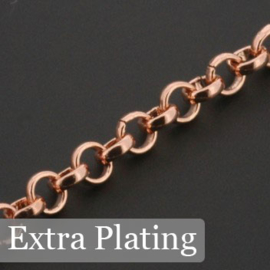 ketting jasseron  4mm schakel Rose Gold 3 Mils p/5 meter