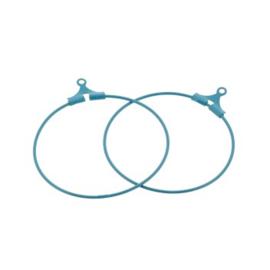 oorbel ornament 30mm p/6 paar zee blauw