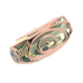 glaskraal licht groen met plating: rose gold 23x12mm p/6