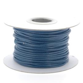 Soft waxkoord / slangenkoord 2mm p/30 meter donker blauw