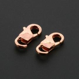 karabijnsluiting met open oog 10mm rose  gold p/10