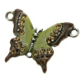 bedel vlinder klein crystal/epoxy olivine 30x22mm p/4