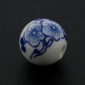 kraal keramiek delfts blauw 16 mm p/25