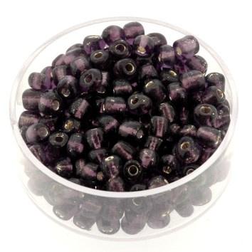 rocailles 6/0 zilver/paars  p/500 gram (036)