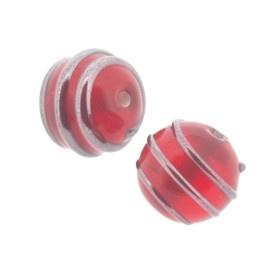 glaskraal 10 mm metalen spiraal rood p/10