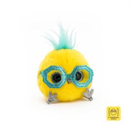 Whozie neon geel met blauwe bril