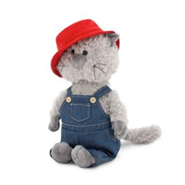 Kat in overall en rode hoed