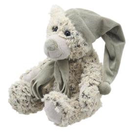 Cream kleurige beer met muts en sjaal