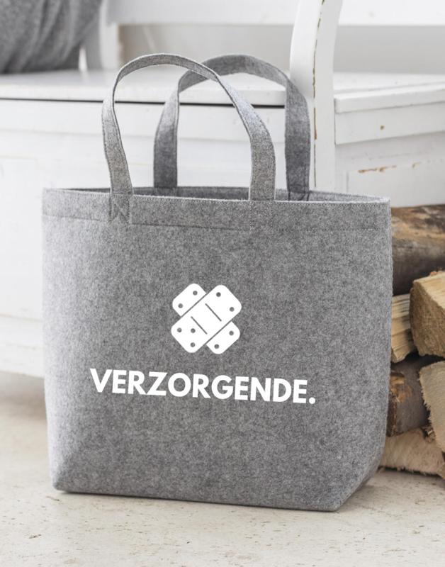 Lichtgrijs VERZORGENDE. Vilten Shopper (Dubbelzijdig)