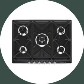 SMEG gaskookplaat 5 pitten zwart