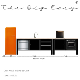 The Big Easy keuken 20/189-2 | SILK naadloos pvc B430xH272 cm