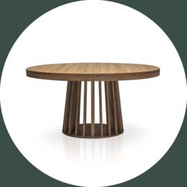 Ovale uitschuifbare tafel HARPER ø 150-300 cm hazelnoot/licht eiken