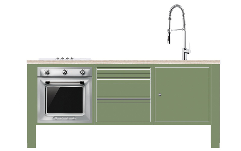 Kitchenette incl. apparatuur Smeg (3 kleuren)