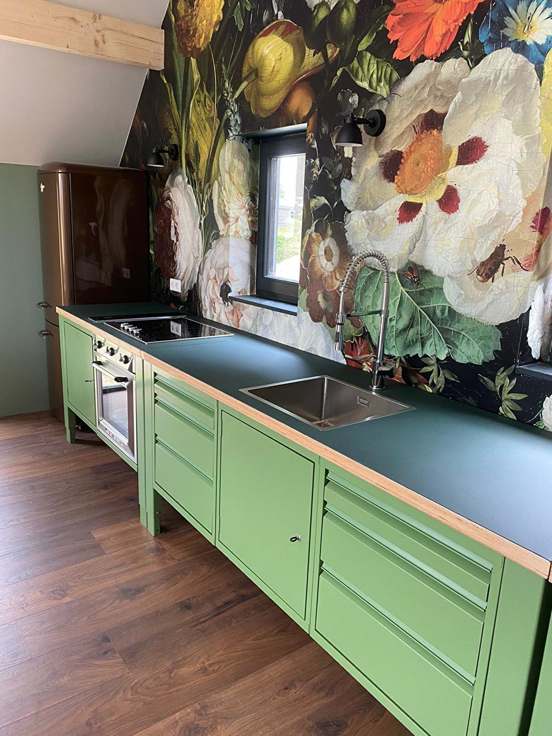 module werkbank keuken machinegroen big easy