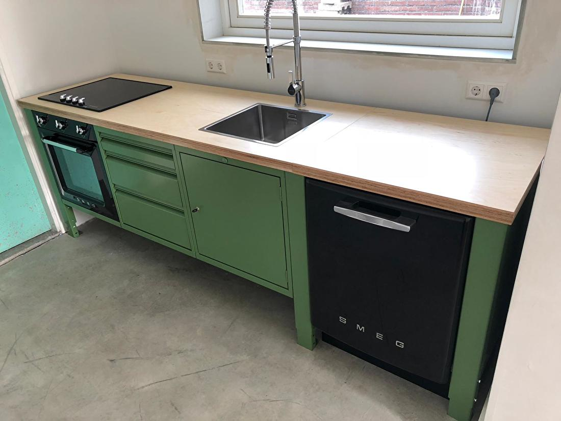 the big easy modular kitchen industrial green