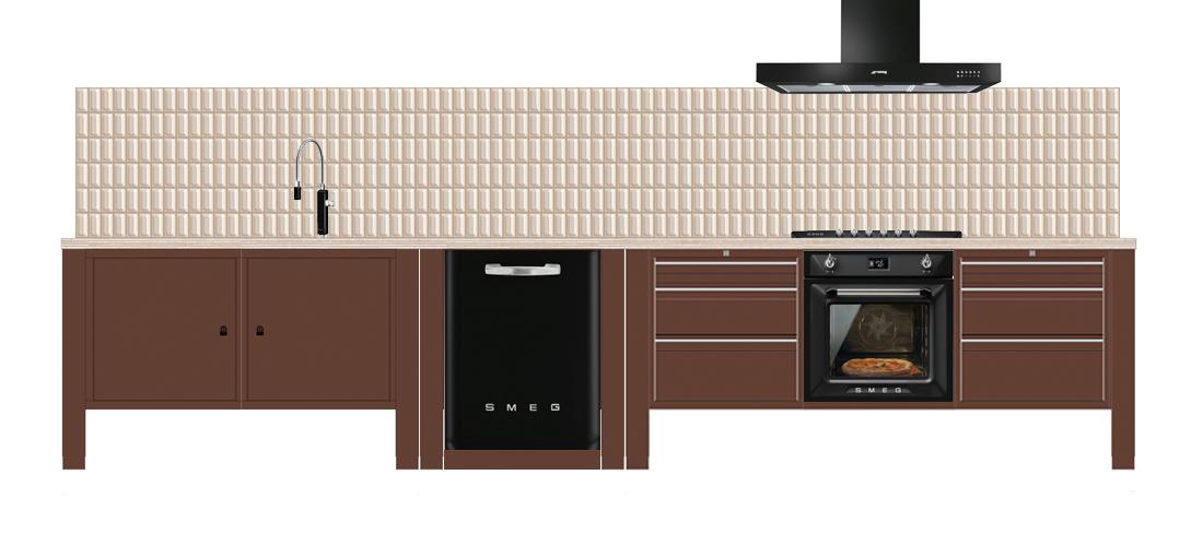 the big easy vrijstaande industriele keuken bruin