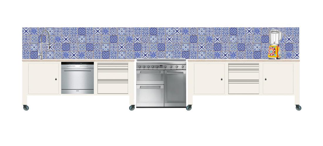 big easy module keuken op wielen wit