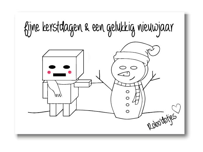 Sneeuwpop kerstkaart