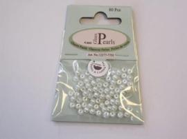 Glas parels rond 4mm wit zak 80 Stuks