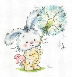 Borduurpakket Bunny and dandelion - Chudo Igla